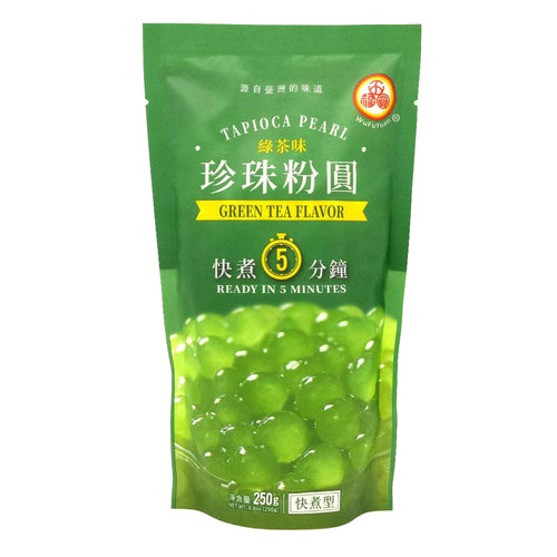 WuFuYuan Green Tea Boba Tapioca Pearls Ready in 5 Mins 8.8 Oz