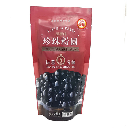 WuFuYuan Black Boba Tapioca Pearls Ready in 5 Mins 8.8 Oz