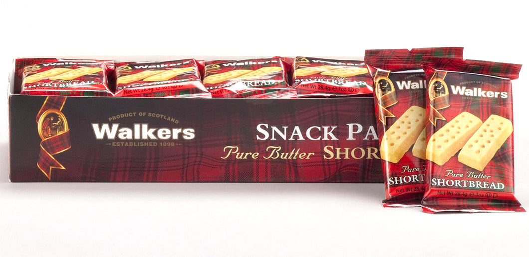 Walkers Pure Butter Shortbread Fingers Snack Packs 20 Oz.