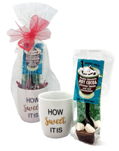 """How Sweet It Is"" Mug & Trader Joe's Double Chocolate Hot Cocoa Stirring Spoon with Mini Marshmallow Valentine's, Mother's Day Gift Set"