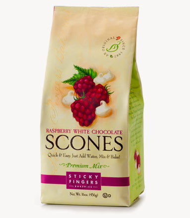 Sticky Fingers Raspberry White Chocolate Premium English Scone Mix 16 Oz.