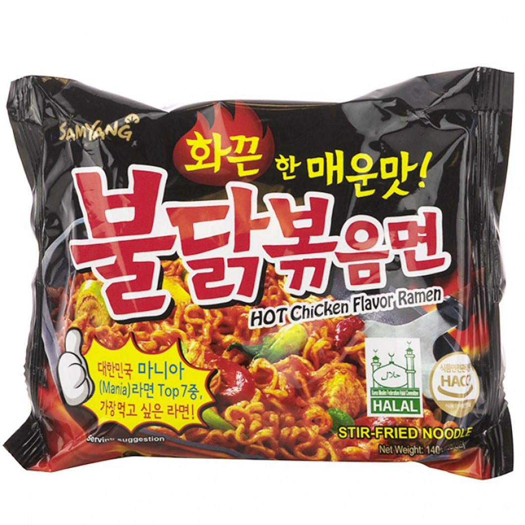 Samyang Spicy Hot Chicken Ramen Korean Stir-Fried Noodle 4.94 Oz (Pack of 5)