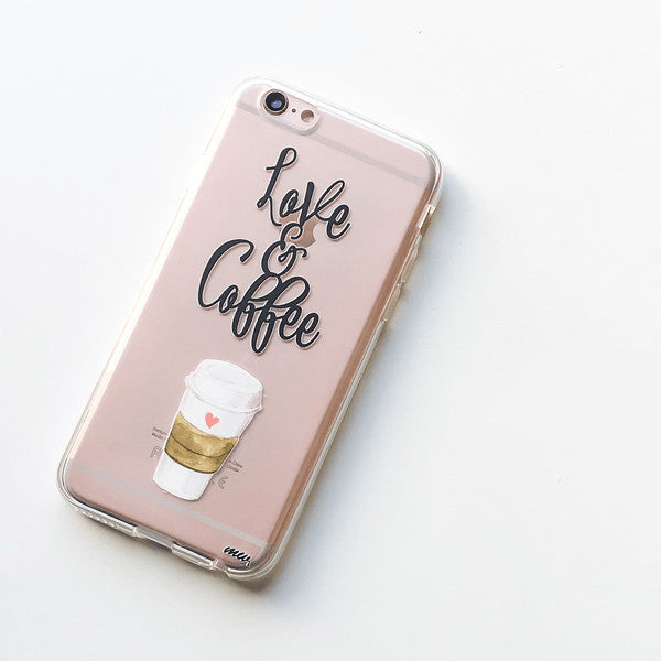 Love and Coffee pink soft case