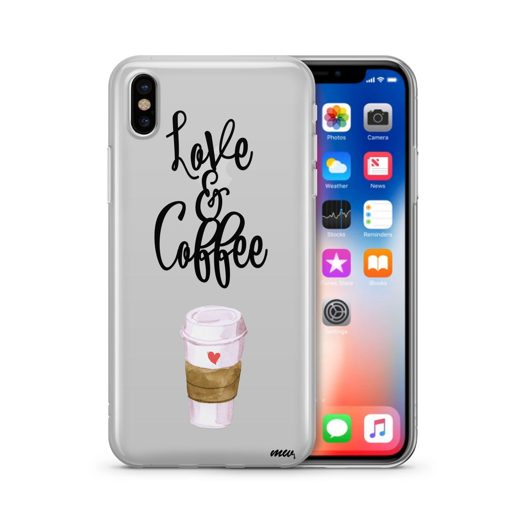 Love and Coffee gray soft case and IPhone