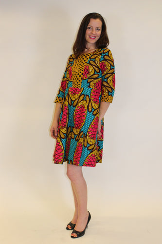 Printed Fit and flair African print 3/4 sleeve  dress- Bobo Dress