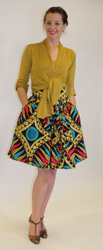 Brown and Blue printed full skirt -