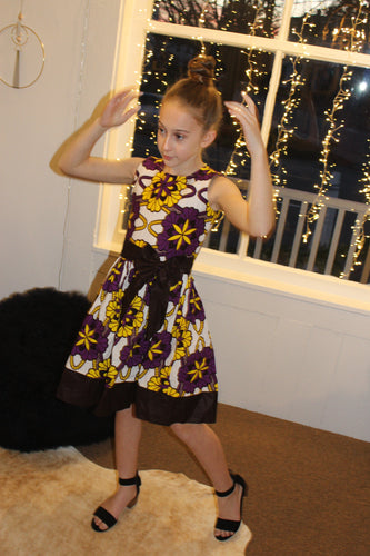 Yellow and purple African Print Girl dress