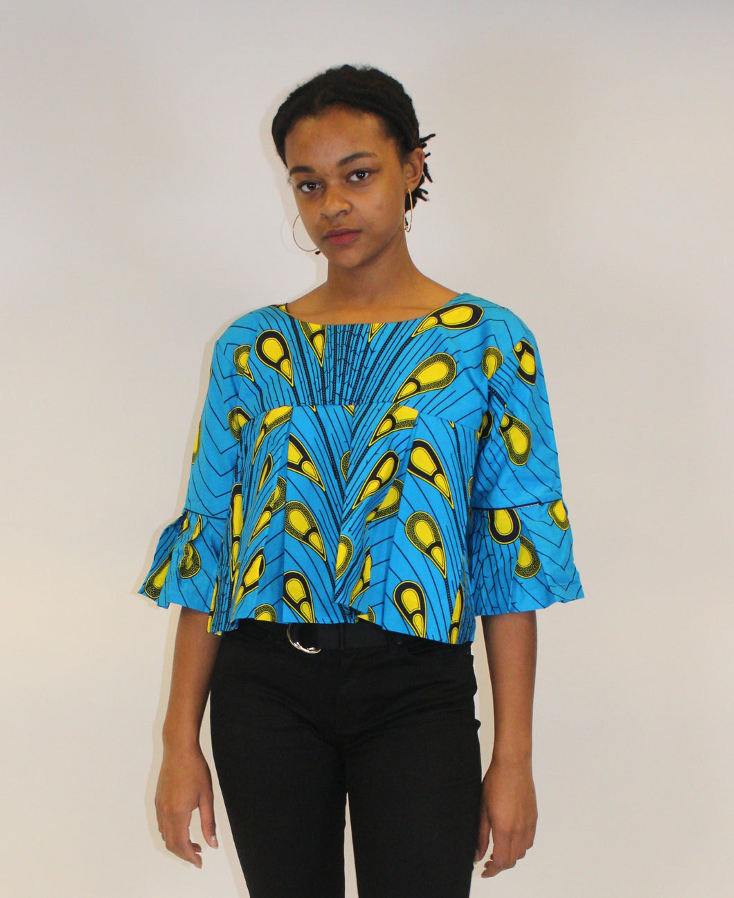 Blue/Yellow African Print Crop Top- Boss of Me