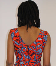 Red African Print Dress- Vivre