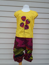 Red and Yellow African print Balloon applique 2pc Capri set- Girl