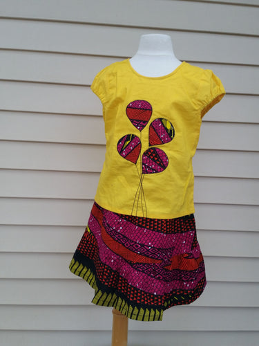 Yellow 2pc girls Balloon applique Skirt set