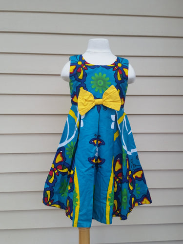 Blue Butterfly Print Girls Dress -Beya