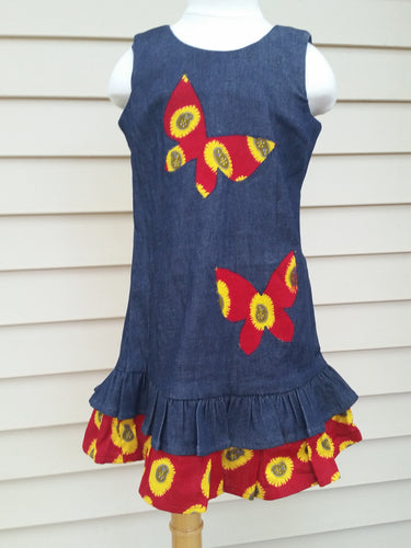 Red and yellow African print Butterfly motif Girl's Jeans dress