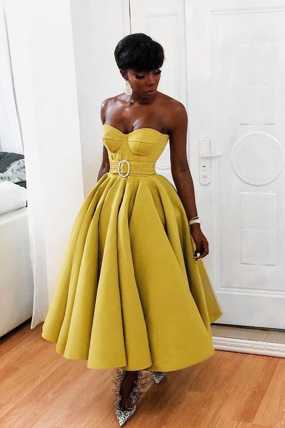 Yellow A line short prom dress yellow evening dress