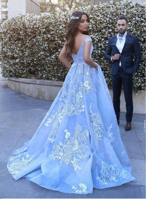 Blue lace tulle long prom gown, lace formal dress