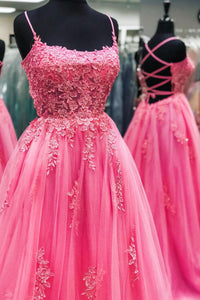 Pink tulle lace long prom dress pink evening dress