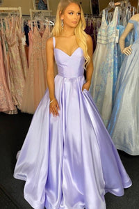 Purple satin long prom dress A line evening dress