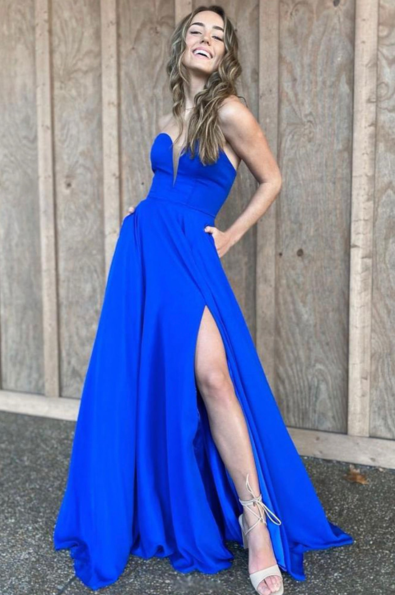 Blue A line long prom dress simple evening dress