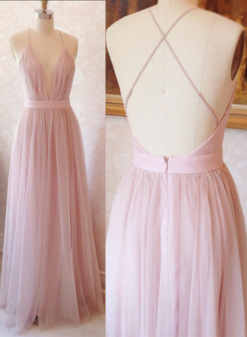 Pink A line v neck tulle long prom dress, pink formal dress