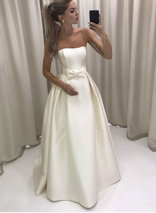 Simple white strapless A line long prom dress, white evening dress ...