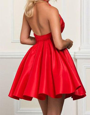 Red homecoming dress, short prom dress