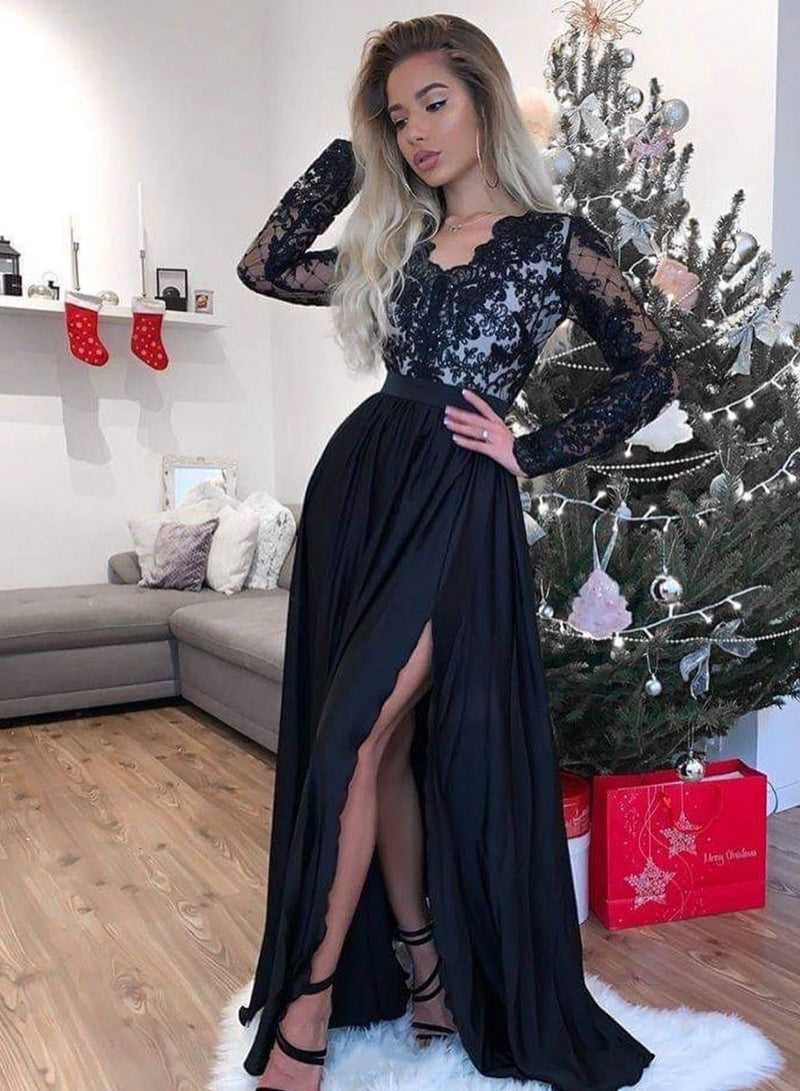Black v neck lace long prom dress evening dress