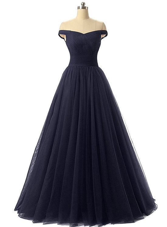 Simple A line tulle long prom gown, evening dress
