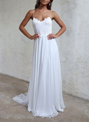White A line lace backless long prom dress, lace evening dress