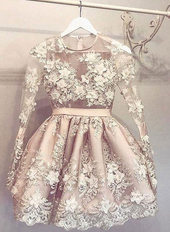 Cute champagne lace short prom dress, homecoming dress