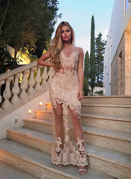Mermaid lace see through long prom dress, lace evening dress