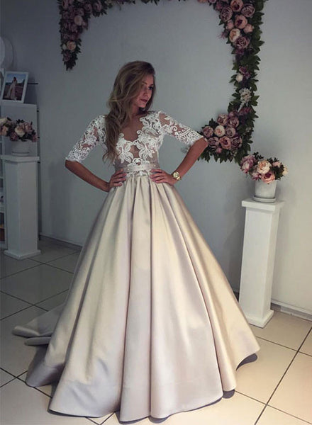 Champagne satin lace long prom dress with sleeve,  woman dresses
