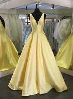 Yellow v neck satin long prom dress evening dress