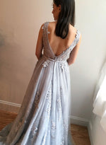 Elegant A line gray lace tulle long prom dress, lace evening dress