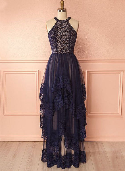Dark blue A line tulle lace long prom dress, lace evening dress
