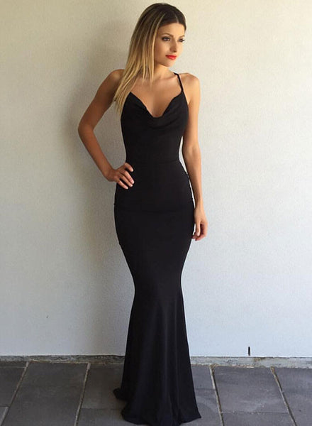 Simple black v neck long prom dress, mermaid evening dress