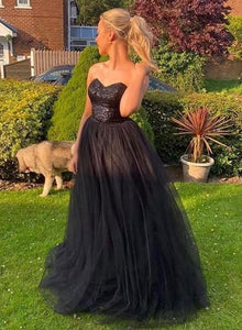 Black tulle sequins long prom dress evening dress