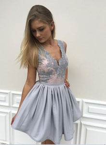 Cute A line v neck lace short prom dress, lace homecoming dress