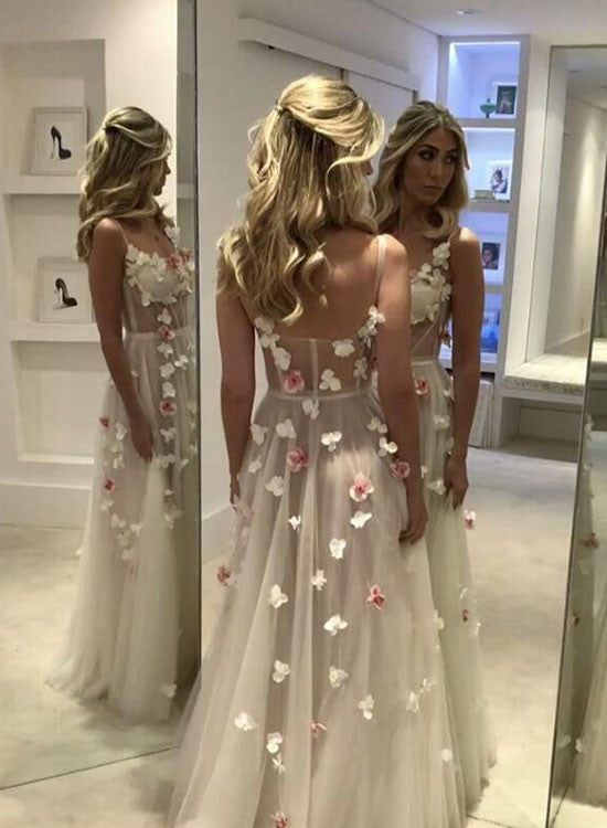 Custom made sweetheart tulle white long prom dress, white evening dress