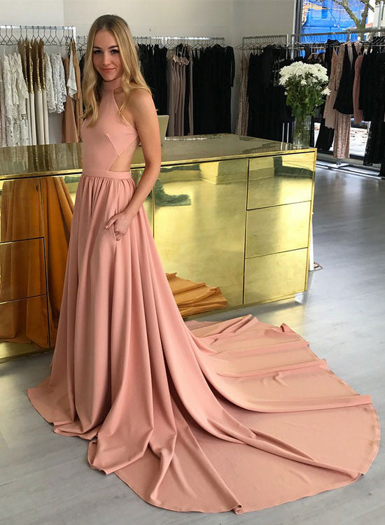 Amazing pink A line long prom dress, pink evening dresses