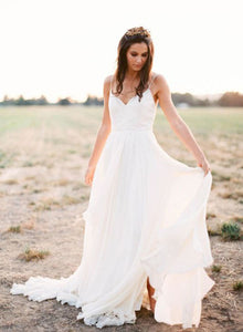 Simple white A line v neck long prom dress, white evening dress