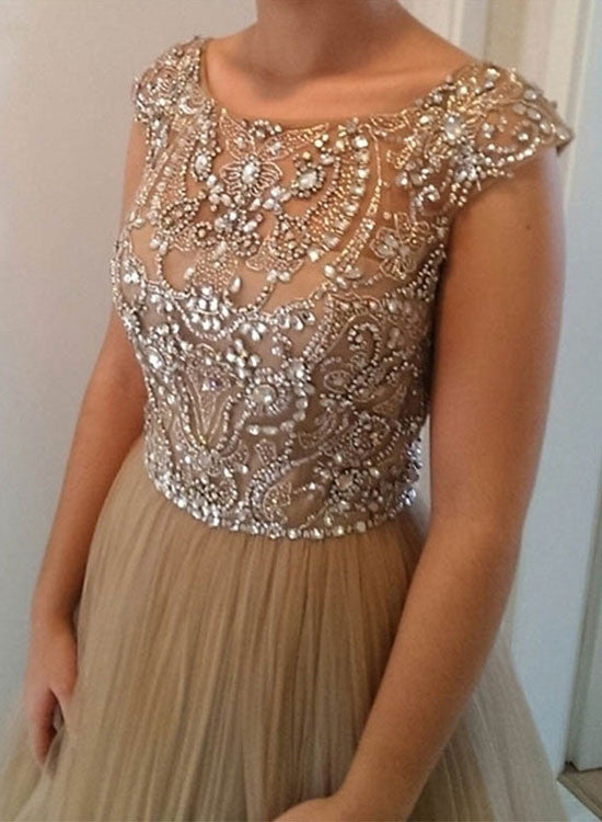 Champagne A line beading long prom dress, formal dress