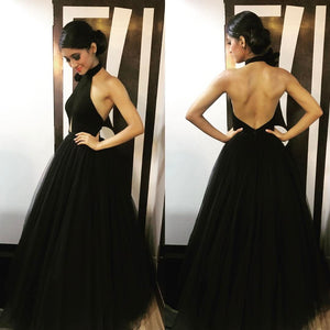 Black tulle backless long prom dress, black evening dress