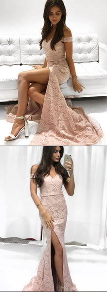 Mermaid lace off shoulder long prom dress, lace evening dress