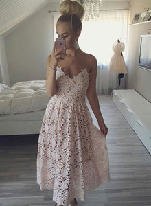 Charming v neck lace short prom dress, lace homecoming dress