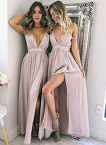 Simple A line v neck long prom dress, formal ddress