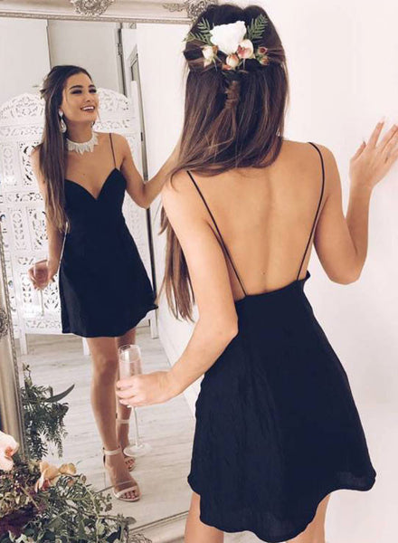 Simple black backless short prom dress, homecoming dress