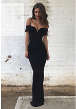 Simple black off shoulder long prom dress, black evening dress