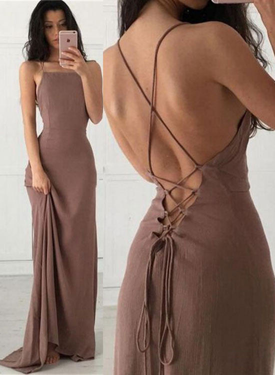 Simple backless soft chiffon long prom dress,, evening dress