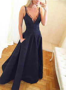 Unique design dark blue v neck long prom dress, formal dress