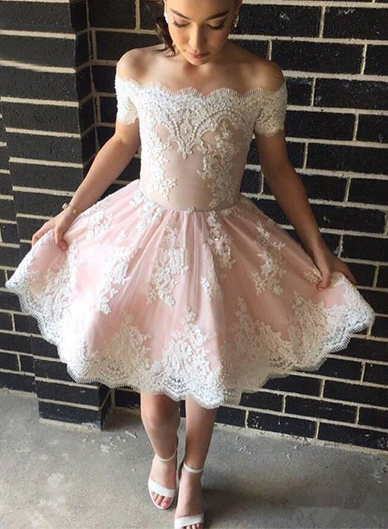 Cute A line lace off shoulder short prom dress, homecoming dress